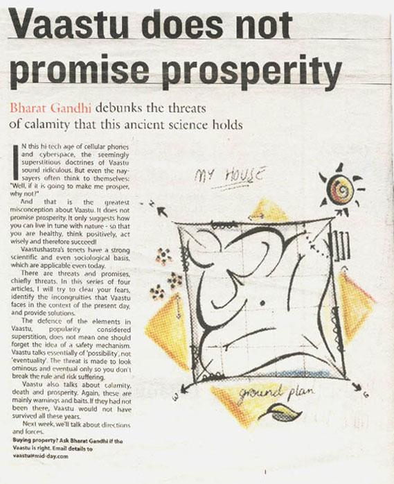 Vaastu does not promise prosperity