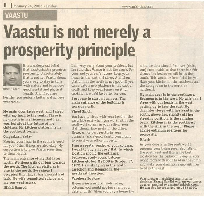 Vastu is Not Merely a Prosperity Principle
